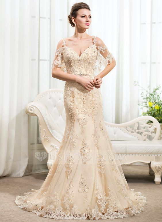 Trumpet/Mermaid Off-the-Shoulder Chapel Train Satin Lace Wedding Dress With Beading Sequins (002056206) - JJsHouse