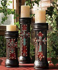 Add old world romance to a room with spanish influenced pillar candle holders made of wood and - The world of candles candles decoration ...