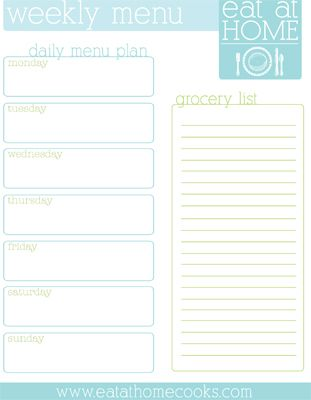 Printable menu planner weekly meal plans weekly menu for To go menu template free
