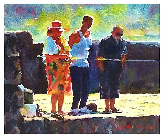 "Watching the woman fishing by Graham Berry Watercolor ~ 8.5"" x 10"""