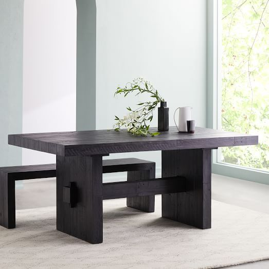 Emmerson Reclaimed Wood Expandable Dining Table Stone Gray West Elm In 2020 Dining Table Black Reclaimed Wood Dining Table Wood Dining Table