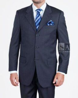 Men's 3 Button Navy Stripe Suit
