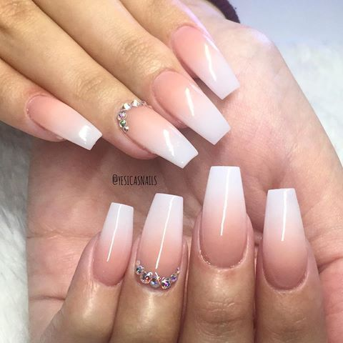 13 Ombre French Manicure With A Rhinestone Accent Nail Styleoholic Ombre Acrylic Nails Rhinestone Nails French Tip Nails