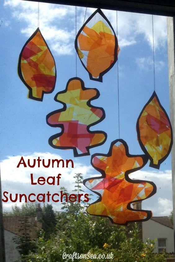 autumn leaf suncatchers craft