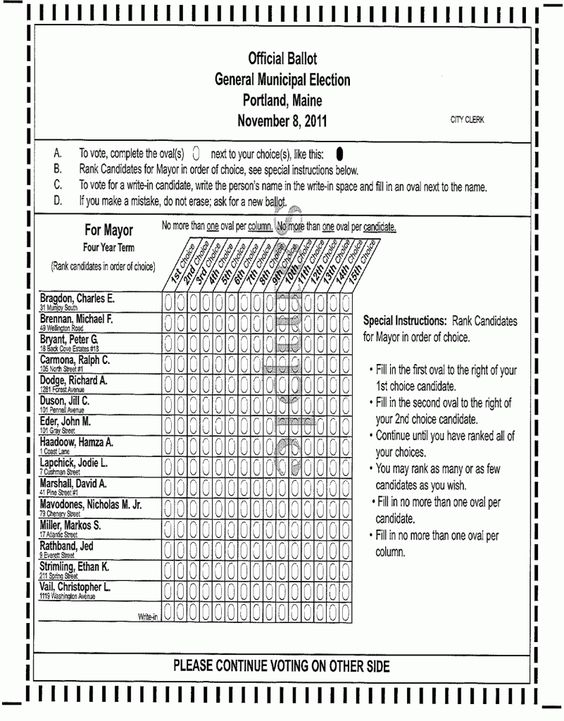 Sample ballot for Instant Runoff Voting (a.k.a. Alternative Vote) - Portland, Maine 2011