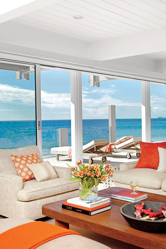 Cream and Coral Living Room #Coastalcottage