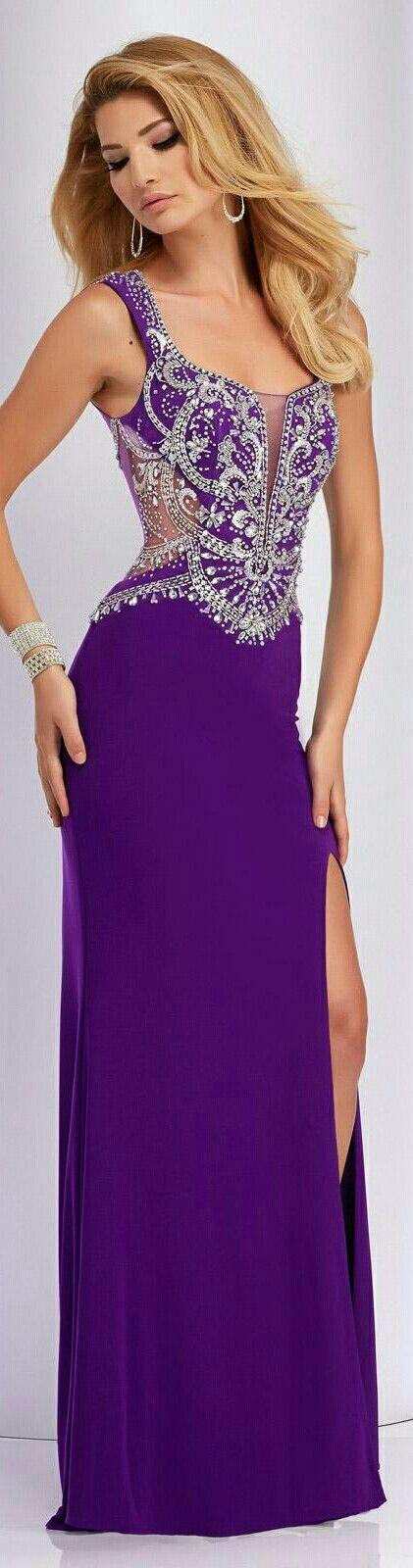 ❤Clarisse Prom Dress in Purple on Skirt w. Beaded Bodice & Shoulder Strap#2808❤                                                                                                                                                                                 Más