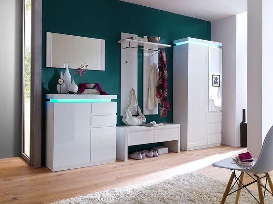 Wandpaneel Nemo Hochglanz weiß lackiert passend zum Garderobenprogramm Nemo 1 x Wandpaneel mit 1 Hutablage 1 Kleiderstange und 4 Kleiderhaken Material: MDF-Platte Lack... #flur #garderobe