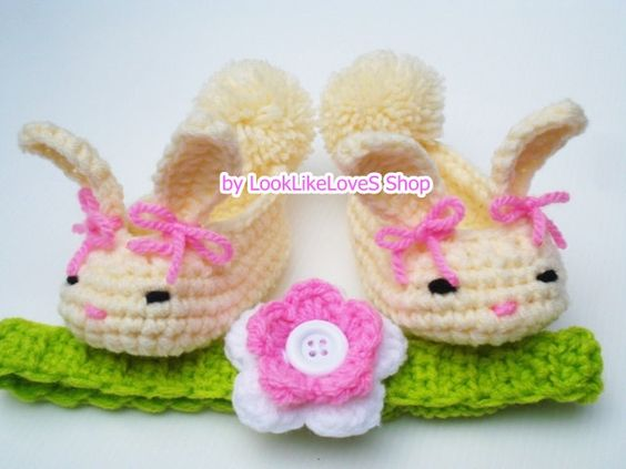 crochet bunny baby booties and headband