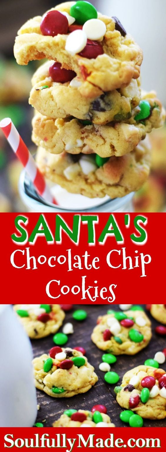SANTA'S CHOCOLATE CHIP COOKIES are full of festive fun and lots of chocolate yumminess!! Only the Best for Santa 'cause he's making his list and checking it twice! So make sure you leave these out on Christmas Eve! Don't want to find yourself on that NAUGHTY LIST! #christmascookies