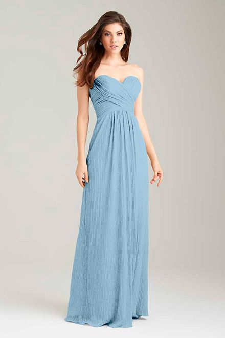 desert blue bridesmaid dress