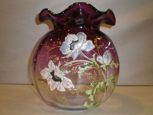 Rare Moser Glass Vase Hand Painted   $ 900.00