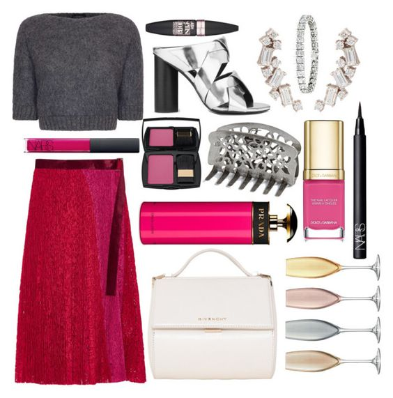 """""""Play opening night 🎭"""" by pulseofthematter ❤ liked on Polyvore featuring Sacai, James Lakeland, Senso, Givenchy, Sarah Noor, NARS Cosmetics, Prada, Lancôme, Maybelline and maurices"""