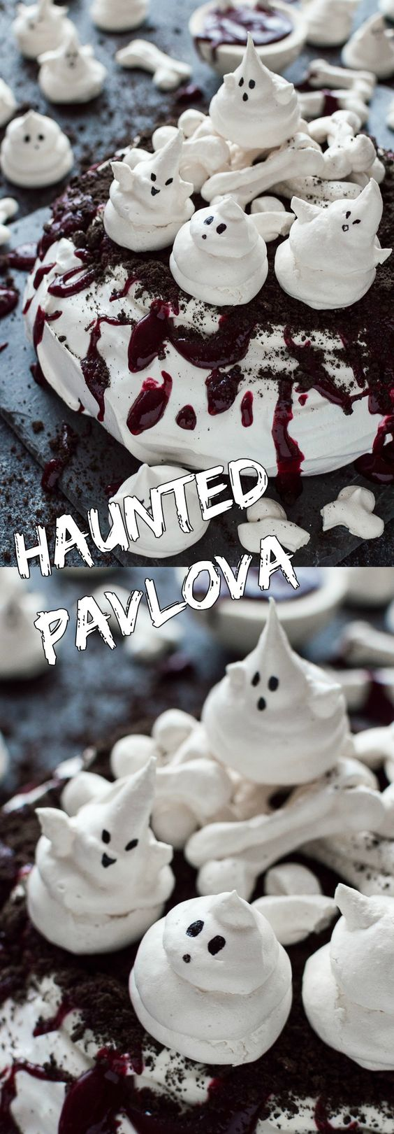 Haunted Halloween pavlova - a spooky, impressive centerpiece with meringue ghosts and bones, Oreo soil and berry coulis blood; it is easier to make than you might think!