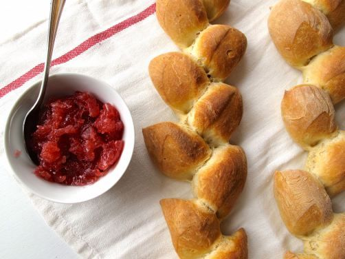 Sourdough Epi Baguettes with Rhubarb Blood Orange Ginger Jam
