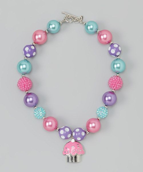 Take a look at the Pink & Purple Cupcake Bead Gem Necklace on #zulily today!
