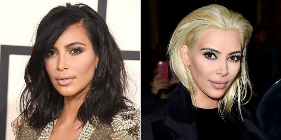 Kim Kardashian has really, really gone blonde. This is her at today's Balmain show in Paris, not long after the Internet freaked out because a tiny section of her newly bleached lob had escaped from her beanie. With her regular eyebrows, it's very striking, no?   - MarieClaire.com