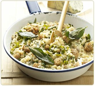 Stilton Risotto with sausage, spring greens and crispy sage:
