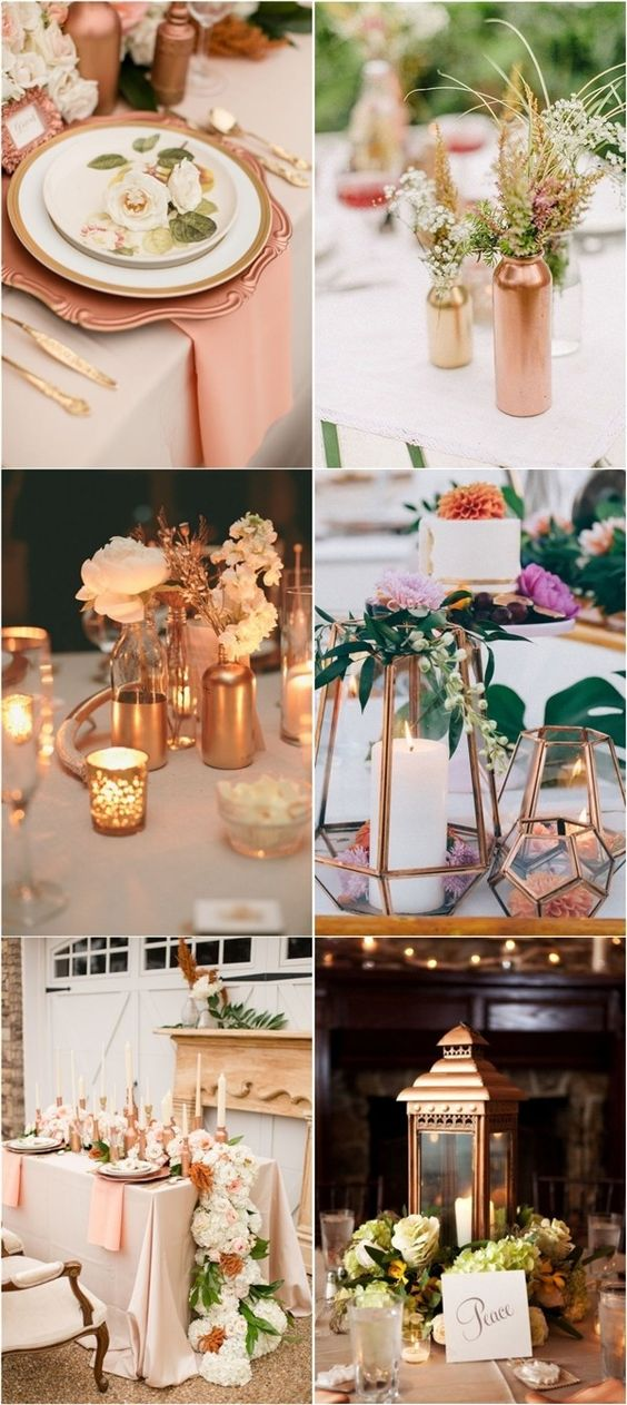 Rose gold bronze copper wedding theme ideas / http://www.deerpearlflowers.com/bronze-copper-wedding-color-ideas/2/