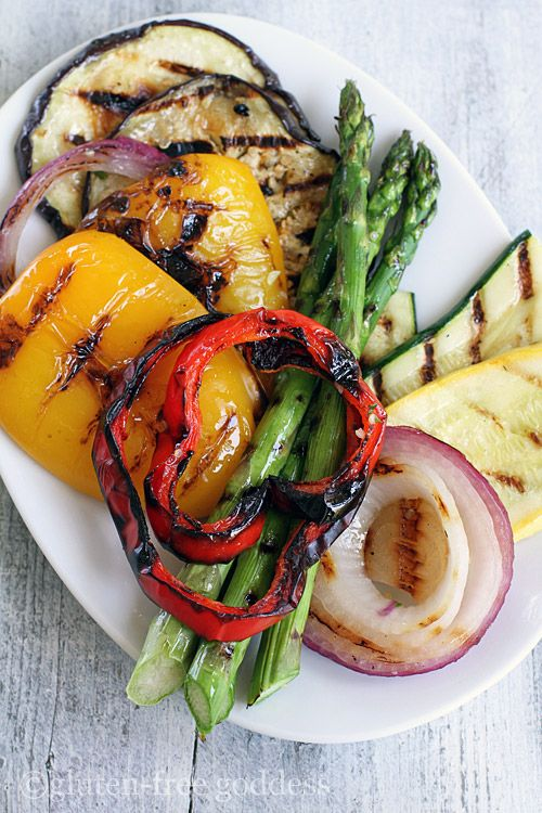 Grilled vegetables are smoky sweet- here paired with lemon infused quinoa salad (gluten-free and vegan)