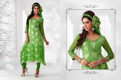 Indian pakistani parrot green Wedding Partywear Anarkali suit indian look/saree
