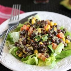 Spicy black bean guacamole salad... combines black beans with a simple avocado dressing, a perfect healthy snack! #foodgawker
