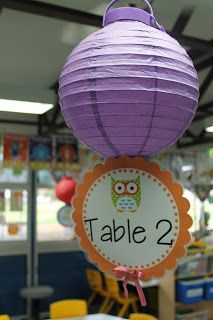 Paper lanterns for table numbers