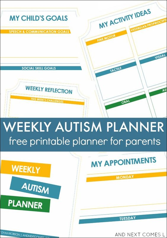 Weekly Calendar Autism : Weekly autism planner free printable for parents