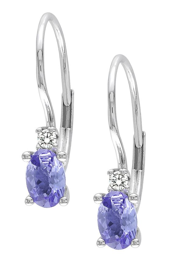 0K White Gold Diamond & Tanzanite Earrings - 0.06 ctw