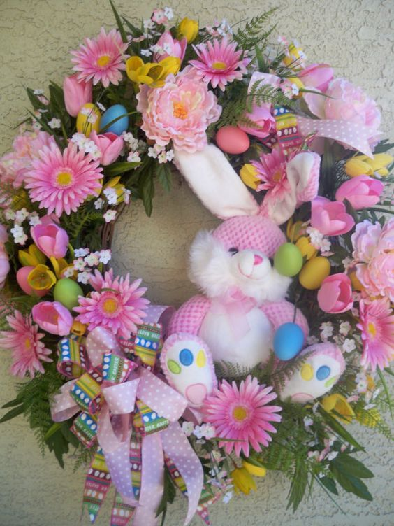 Beautiful Easter Wreath With Pink Bunny Gerbera Daisies
