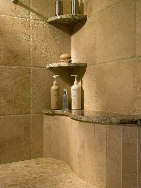 Shower designs showers and shelves on pinterest for Master bathroom plans with walk in shower