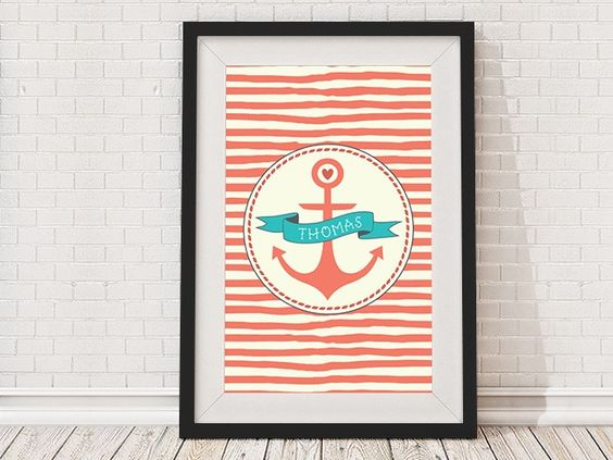 Personalised Childrens Nautical Anchor Framed Print Black Frame Red