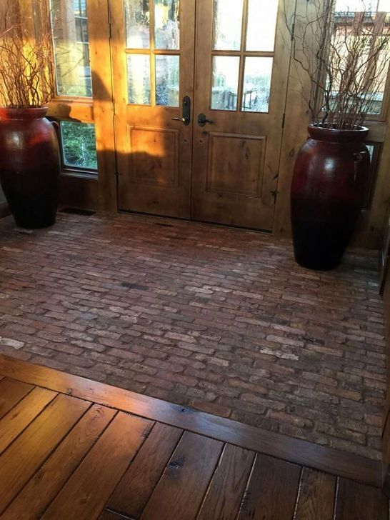 20 Unique Wooden Floor Decoration Ideas For Modern Porch In 2020 Brick Flooring Flooring Entryway Flooring