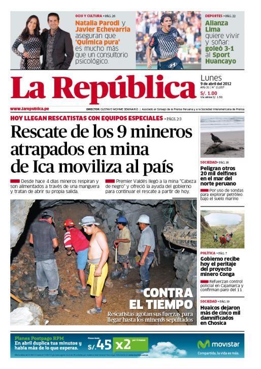 Edición impresa del lunes 9 de abril, del 2012.
