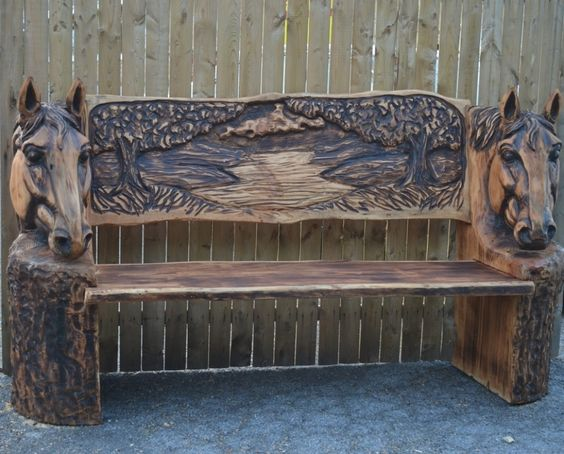 Wonderful The Art Of Chainsaw Carving Horse Head Bench With Shaving Horse And Spoon Mule Thoughts