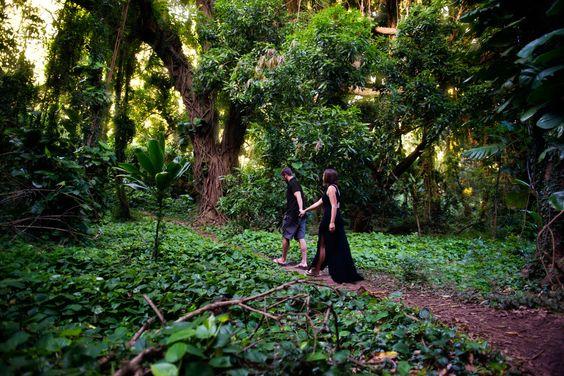 Walking through a jungle in Hawaii. Maui. Oahu. Engagement Photo. Couple photo ideas. Ally Papko Photography & Design. International Wedding Photographer. Boudoir Photographer. Winnipeg www.allypapko.com