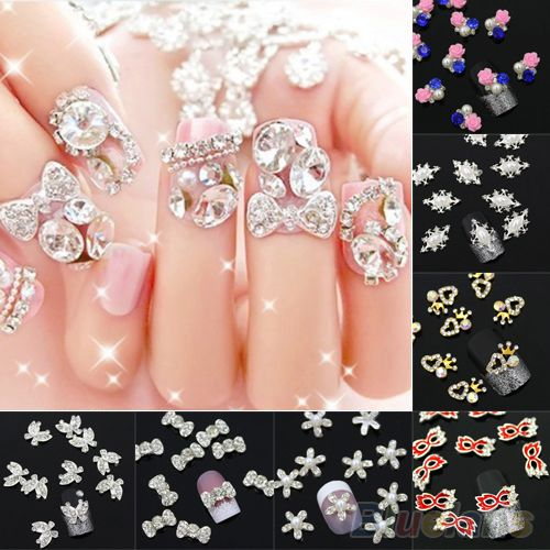 10 Pcs 3D liga strass decalque Glitters Nail Art Salon dicas adesivos DIY decoração alishoppbrasil