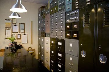 filing cabinets in a big file room