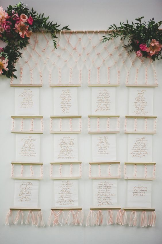 macrame seating chart - photo by Melissa Biador http://ruffledblog.com/mixed-metals-wedding-in-la-jolla