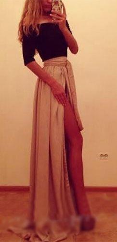 Black Beige Off The Shoulder Elbow Sleeve Tie Waist Front Slit Maxi Dress