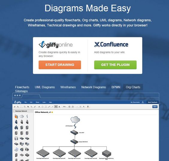 Gliffy - Create professional-quality flowcharts, Org charts, UML diagrams, Network diagrams, Wireframes, Technical drawings and more. Gliffy works directly in your browser!