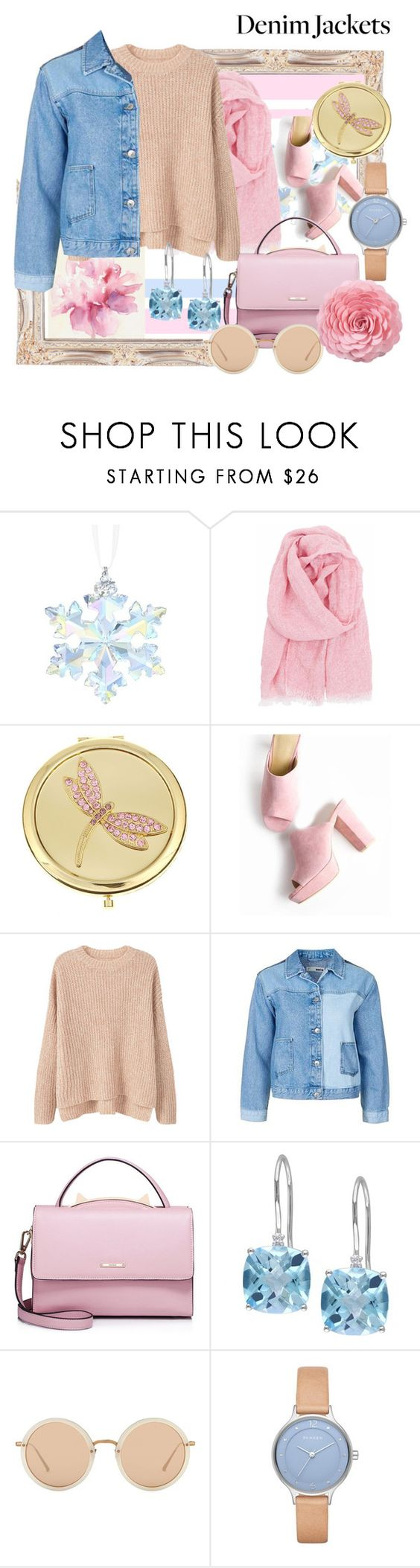 """DENIM"" by emmajanemoon ❤ liked on Polyvore featuring Swarovski, Lapuan Kankurit, Monet, MANGO, Topshop, WithChic, Linda Farrow, Skagen and Saro"