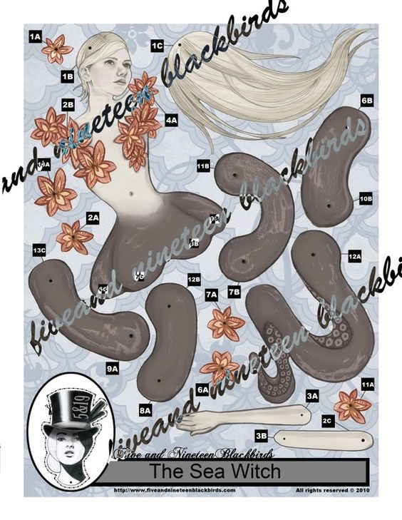 Sea Witch/Octopus Paper Doll-10 by FiveAndNineteen on Etsy