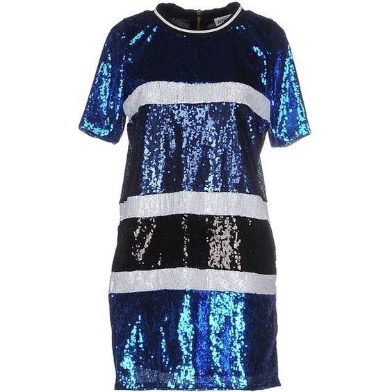 Ainea Short Dress ($330) ❤ liked on Polyvore featuring dresses, blue, zipper dress, short sleeve dress, tulle dress, short sequin dress and short dresses