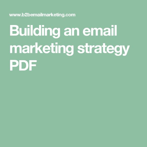 Building an email marketing strategy PDF