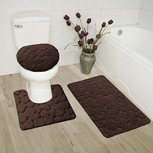 Gorgeoushome 3pc Coffee Rock Design Embossed Bathroom Set Bath Mat
