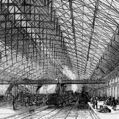 The new Grand Central railway station at Birmingham, later known as Birmingham New Street, June 1854 .