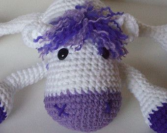 Crochet Horse, Handmade Horse, Stuffed Horse, Purple and White Horse