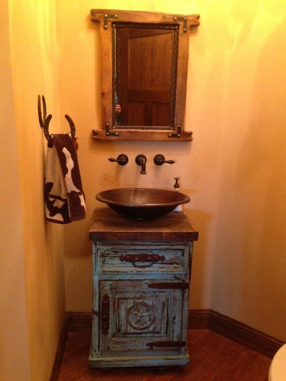 Rustic Bathrooms Rustic And Turquoise On Pinterest