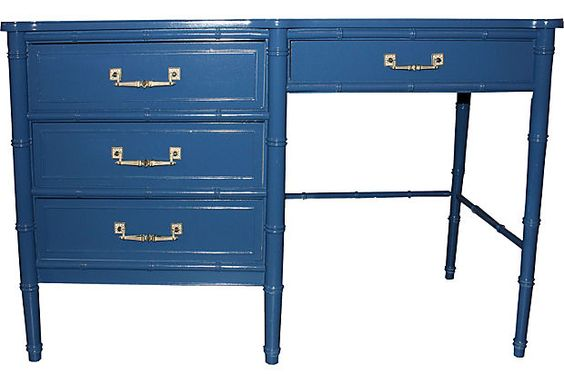 Navy Faux-Bamboo Desk